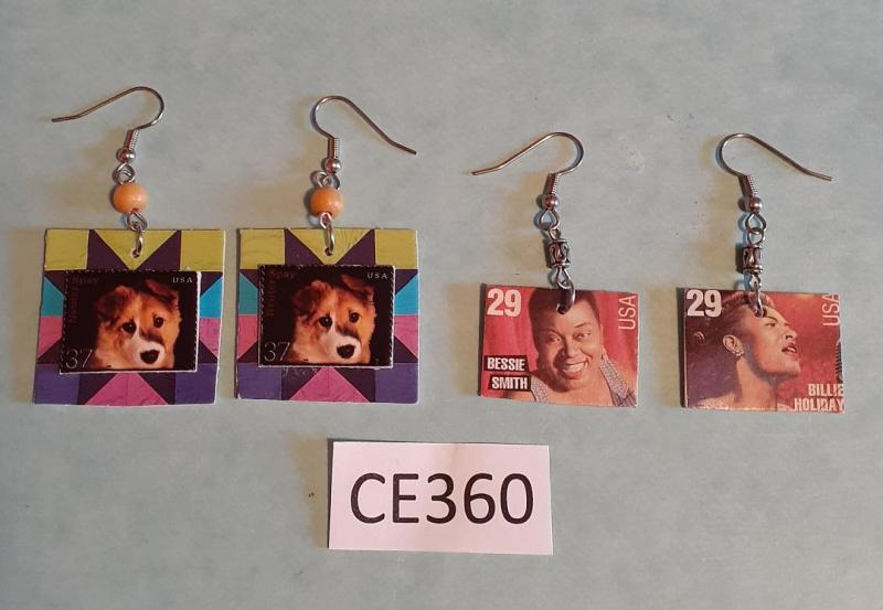 TWO PAIRS OF CARD EARRINGS
